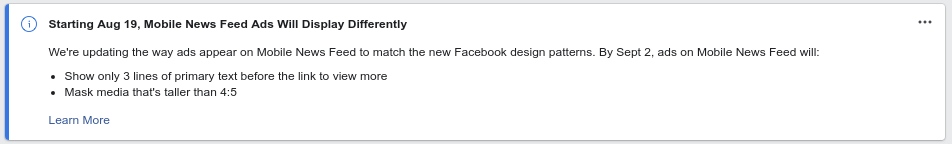 Primary text length and media ratio changed in Facebook mobile news feed