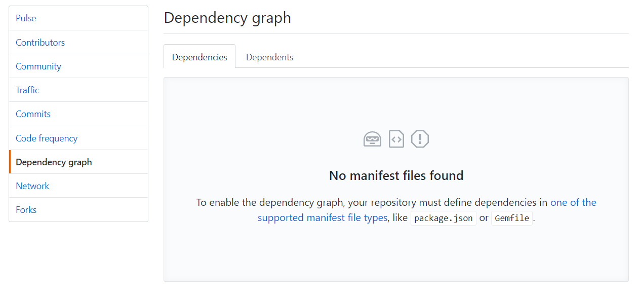 GitHub dependency graph - Missing Manifest file