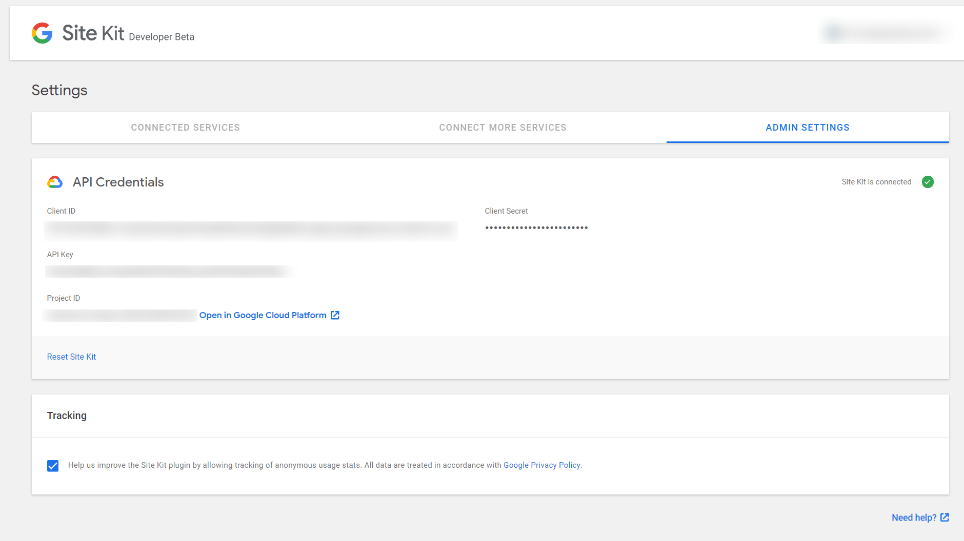 Google Site Kit screenshot