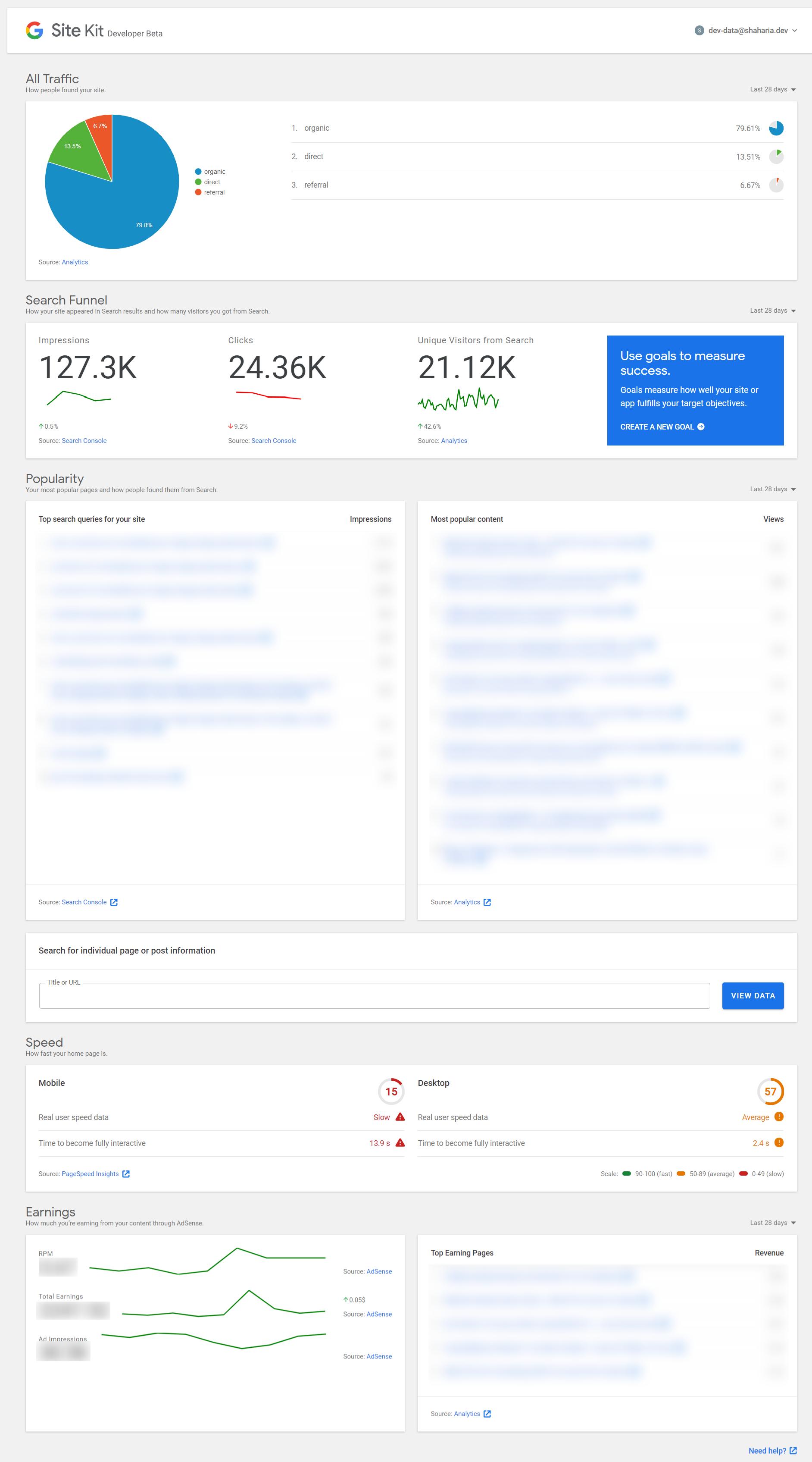 Google Site Kit plugin screenshot