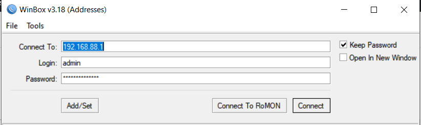 Winbox Login interface to connect MikroTik
